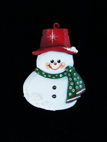 """Mini Snowman Orn."" - Red Hat #1/15"